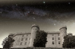 Bracciano castle under starry sky Royalty Free Stock Image