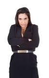 Braccio attraversato donna e fronte arrabbiato fotografie stock