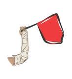 Braccio in colata e bandiera di rad Fotografia Stock Libera da Diritti