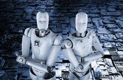 Braccio del robot attraversato illustrazione di stock