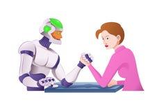 Braccio di ferro del robot di Droid con la donna Fotografia Stock