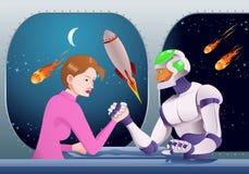 Braccio di ferro del robot di Droid con la donna sulla stanza della stazione spaziale Immagine Stock