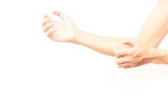 Braccio di scratch della mano dell'uomo su fondo bianco Fotografie Stock Libere da Diritti