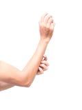 Braccio di scratch della mano dell'uomo su fondo bianco Fotografia Stock Libera da Diritti