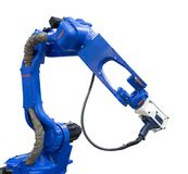 Braccio robot automatizzato con l'analizzatore 3D nell'industria automobilistica Fotografie Stock