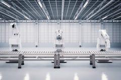 Braccio robot con la linea del trasportatore fotografia stock libera da diritti