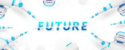 Braccio robot e tipografia creativa per futuro Rivoluzione industriale astuta illustrazione di stock