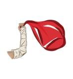 Braccio in una colata ed in una borsa rossa Fotografia Stock Libera da Diritti