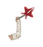 Braccio in una colata ed in una stella rossa Fotografia Stock