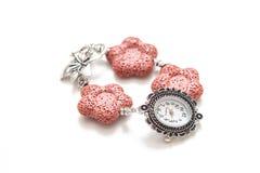 Bracelet élégant de lave et d'argent volcaniques avec la montre  Photographie stock libre de droits