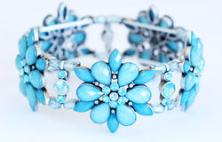 Bracelet. Close up of a blue flower bracelet Royalty Free Stock Photos
