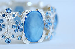 Bracelet. Blue Bracelet close up with white background Stock Photos