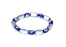 Bracelet. From glass and silver in blue colors Stock Photos