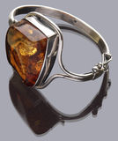 Bracelet. Silver and amber Stock Photo