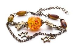 Bracelet with amber Stock Photo