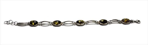 Bracelet with amber Royalty Free Stock Images