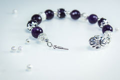 Bracelet with Amethyst Royalty Free Stock Image