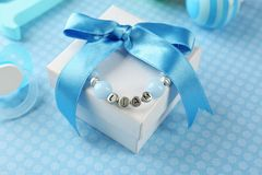 Bracelet with baby name stock images