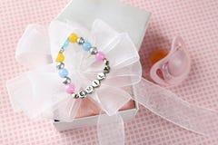 Bracelet with baby name stock photos