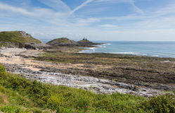 Bracelet Bay the Gower Peninsula South Wales with Mumbles lighthouse Stock Image