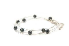 Bracelet with black gems (jet) Stock Photo