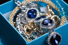 Bracelet with blue stones in a box Stock Photography