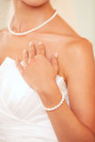 Bracelet on the bride's hand royalty free stock photography