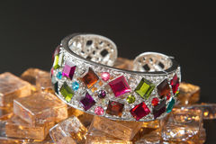 Bracelet with color gems Stock Photography