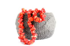 Bracelet and coral beads Stock Image