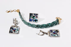 bracelet, earrings and ring with stones Royalty Free Stock Photo