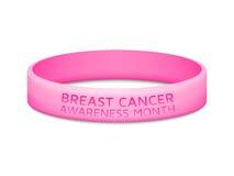 Bracelet en caoutchouc de mois de conscience de cancer du sein illustration de vecteur
