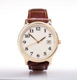 Bracelet en cuir de montre d'or images libres de droits