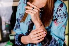 Bracelet made of dark silver, closeup. Stock Images