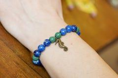 Bracelet made from jasper. Beads royalty free stock photography