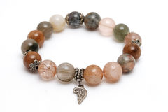 Bracelet mix lucky stone with white isolate background Stock Photos