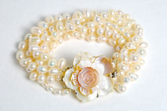 Bracelet with natural pearl Royalty Free Stock Image