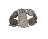 Bracelet of old coins Royalty Free Stock Photo