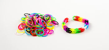 Bracelet rubber bands and elastic bands to weave bracelets Royalty Free Stock Photo