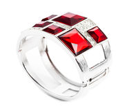 Bracelet with ruby isolated Stock Photos