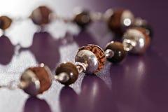 Bracelet sacré d'argent de Rudraksha de graines Photo stock