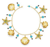 Bracelet with seashells. Create one bracelet of gold chain decorated with golden sea shells, starfish and turquoise beads Royalty Free Stock Images