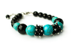 Bracelet of turquoise and black onyx Stock Photo