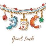 Bracelet vector card with lucky charms. Good Luck Charm bracelet with maneki neko, unicorn, clover, ladybug and fox Stock Images
