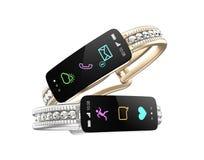Bracelete bonito do diamante com exposição de informação esperta Fotos de Stock Royalty Free