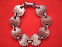 Bracelete da moeda de um centavo Fotografia de Stock