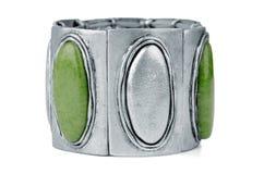 Bracelete de prata com verde foto de stock