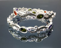 Bracelete de prata luxuoso Imagens de Stock