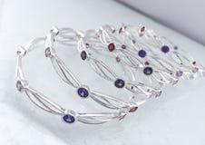 Bracelete de prata luxuoso Fotos de Stock