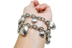 Bracelete do coração em uma mão Imagens de Stock
