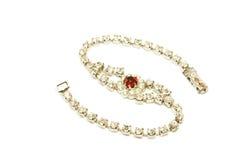 Bracelete do diamante e do rubi fotos de stock royalty free